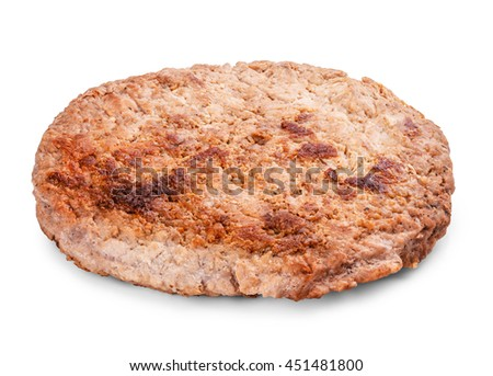 cutlet burger isolated on a white background clipping path