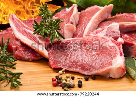 cutlet of lamb with vegetables - stock photo
