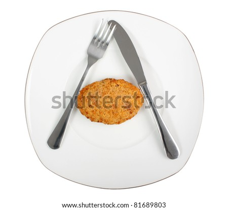 Cutlet on plate. Isolated with clipping path. - stock photo
