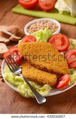 cutlet vegetarian soy with vegetable salad garnish