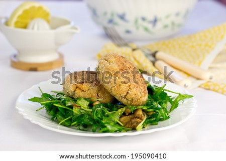 Cutlets of canned fish - stock photo