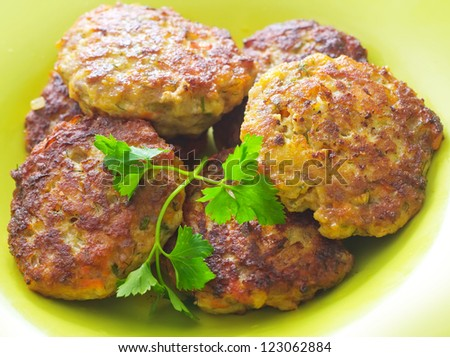 cutlets on the green plate - stock photo