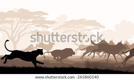 Cutout illustration of lions chasing a herd of wildebeest - stock photo