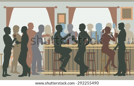 Cutout illustration of people drinking in a busy bar in daylight - stock photo