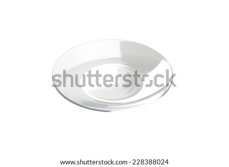 cutout of empty glass plate on white background