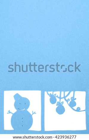cutout picture, winter greeting card template