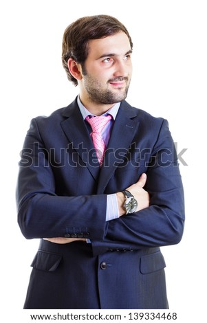 Cutout portrait of smiling businessman standing with arms folded, isolated on white  - stock photo