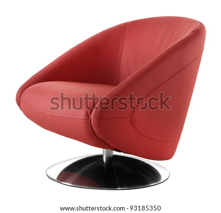 cutout red armchair - stock photo