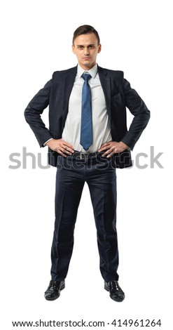 Cutout serious businessman holds his hands on his waist. Self-confidence. Strong commitment. Business staff. Office clothes. Dress code. Presentable appearance.  - stock photo