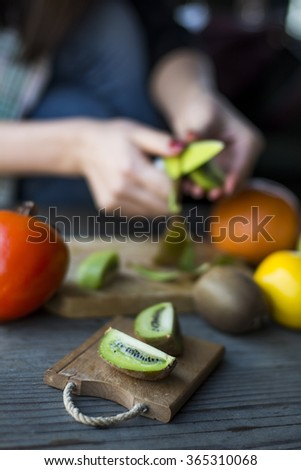 Cuts fresh fresh fruit  - stock photo