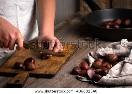 cuts roasted chestnuts - stock photo
