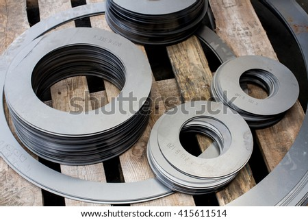 cutted metal with laser machine - stock photo