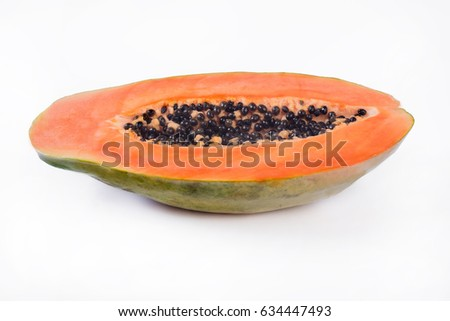 cutted papaya isolated