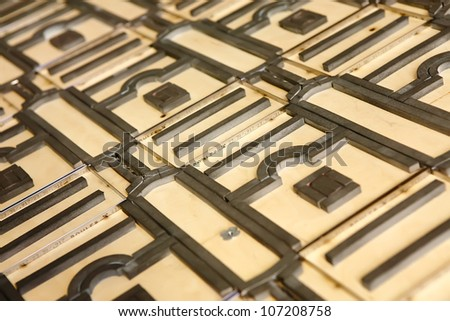 Cutter form - polygraph industry, for cutting and folding paper in complex shapes - stock photo