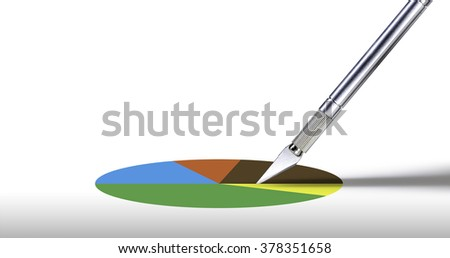 cutter split the pie for business model - stock photo