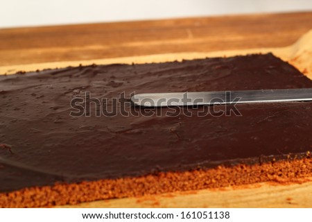 Cutting a cake into slices. Making Chocolate Brownie. Series.