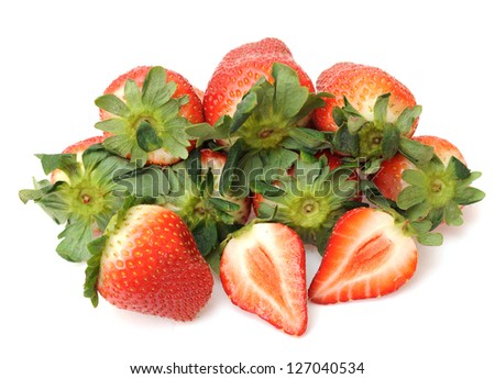 cutting and whole strawberry isolated on white background