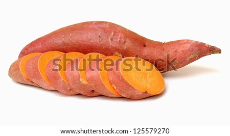 cutting and whole sweet potato on white background
