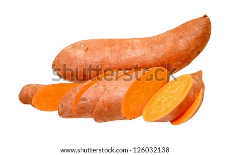 cutting and whole sweet potatoes isolate on white background
