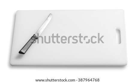 Cutting board and kitchen knife on a white background - stock photo