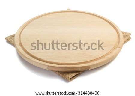 cutting board and napkin on white background - stock photo