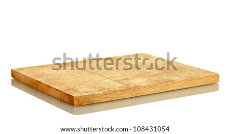 Cutting board isolated on white close-up - stock photo