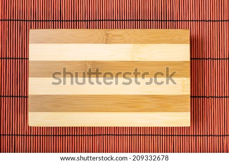 Cutting board on bamboo mat