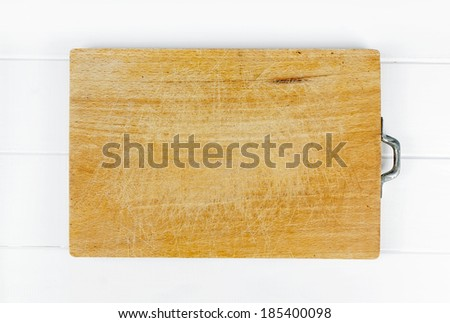 cutting board placed on wooden boards aged - stock photo