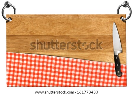 Cutting Board - Signboard with clipping path / Cutting board with red checked tablecloth and kitchen knife hanging on to two steel ring isolated on white - stock photo