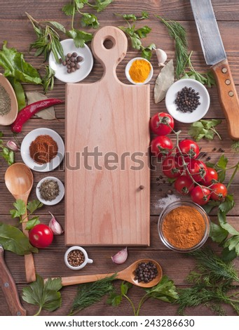 cutting board spices and vegetables. - stock photo