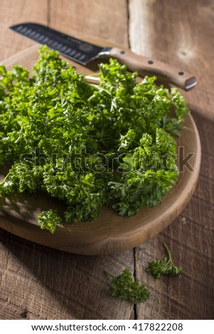 Cutting Board with Parsley and Knife in Background
