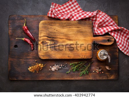 Cutting Boards and Spice for cooking. Food background with copyspace. Top view - stock photo