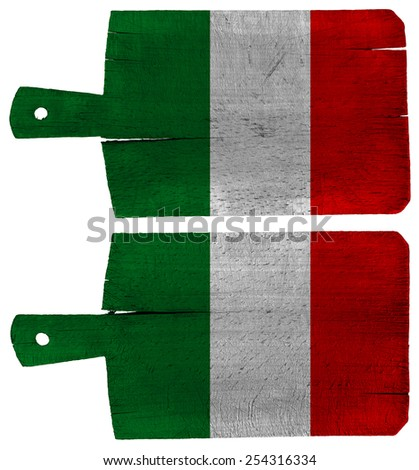 Cutting Boards with Italian Flag. Old cutting boards with italian flag isolated on white background - stock photo
