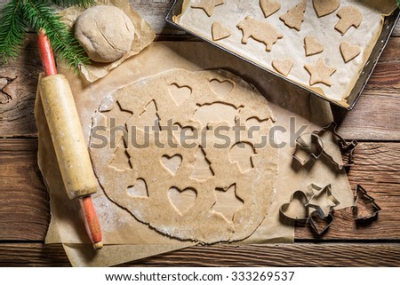 Cutting gingerbread cookies for Christmas