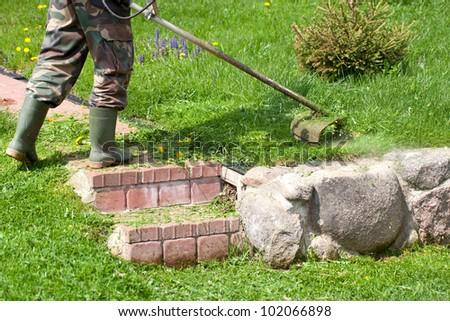 cutting grass in garden - stock photo
