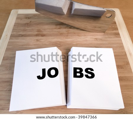 Cutting jobs with a cleaver and cutting board.