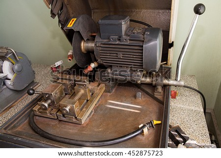 cutting machine in the laboratory on a light background