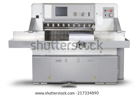 Cutting Machine Offset Druck isolated on white background - stock photo