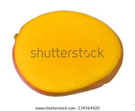 cutting mango isolated on white - stock photo