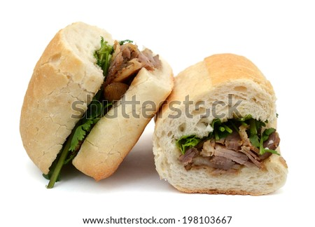 Cutting of Vietnamese sandwiches isolated on white background