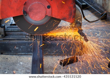 Cutting steel with sparks