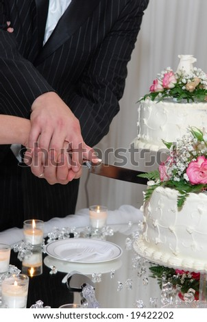 Cutting wedding cake - stock photo
