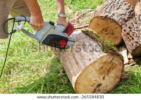 Cutting wood with chain saw - stock photo