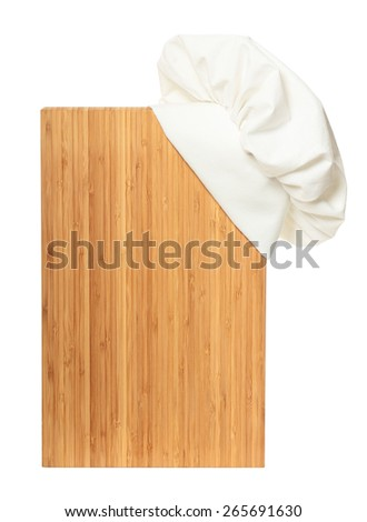 Cutting wooden board with chef hat isolated on white background - stock photo