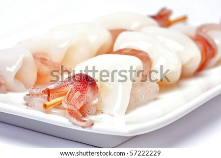 cuttle fish skewers with shrimp and octopus