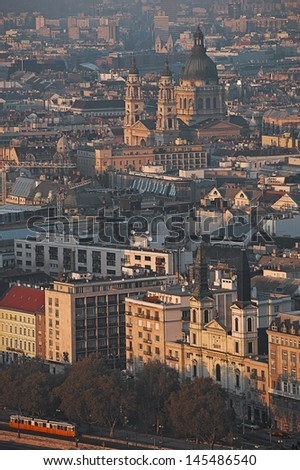 Cutyscape of the Hungarian capital Budapest with the Our Lady Russian Orthodox Cathedral in the foreground and with St Stephen's Basilica in the background