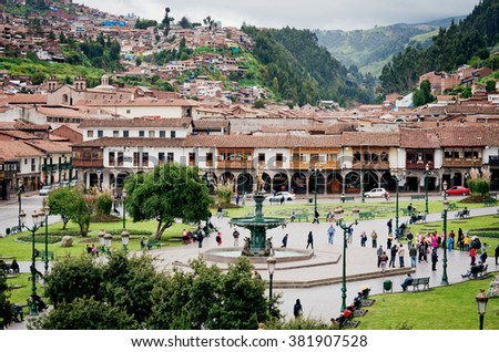 CUZCO, PERU-MARCH 08, 2015: View of  Plaza De Armas in Cusco, Peru