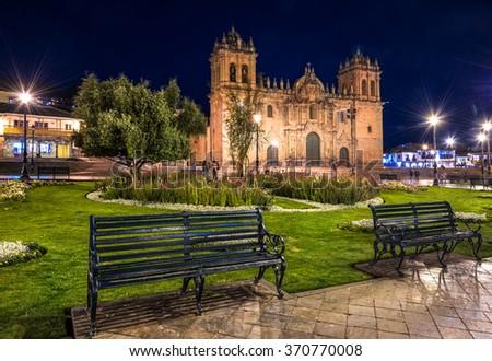 CUZCO, PERU: Night view of the main church. - stock photo