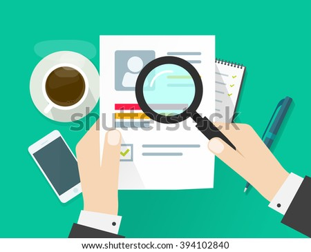CV application paper sheet, business man hands holding resume document, concept of job interview searching, personal data skills research, training results analyze flat modern design isolated image - stock photo