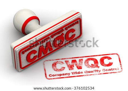 "CWQC. Company Wide Quality Control. Seal and imprint. Red seal and imprint ""CWQC. Company Wide Quality Control"" on a white surface. The three-dimensional illustration. Isolated"